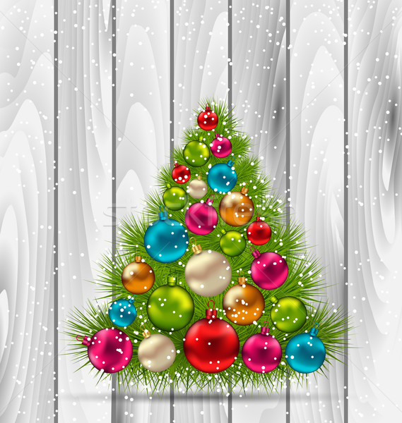 Christmas Tree and Colorful Balls on Wooden Stock photo © smeagorl