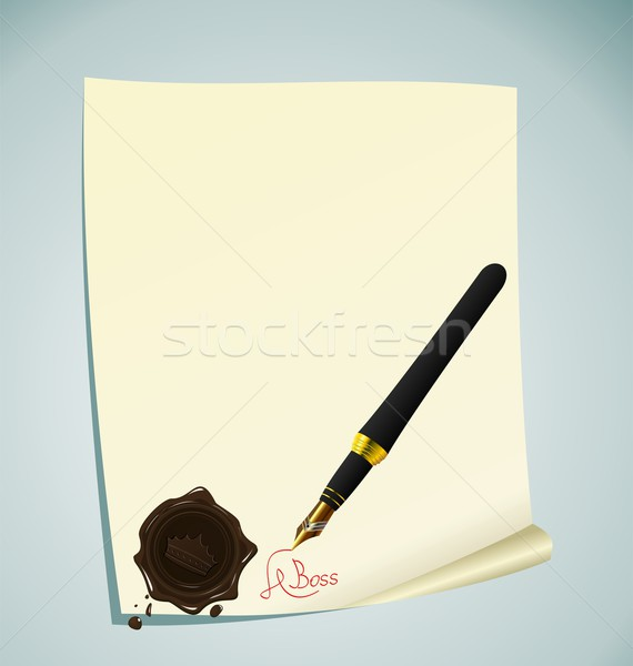 Illustration of hand-draw lettering on the paper with wax stamp Stock photo © smeagorl
