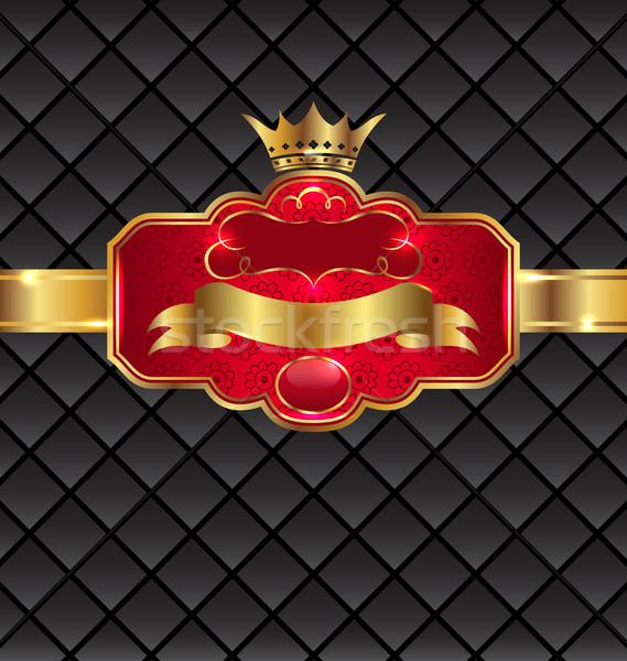 Vintage golden emblem with royal crown Stock photo © smeagorl