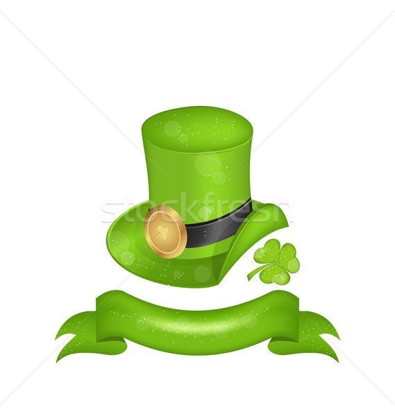 Green hat, clover, ribbon in saint Patrick Day - isolated on whi Stock photo © smeagorl