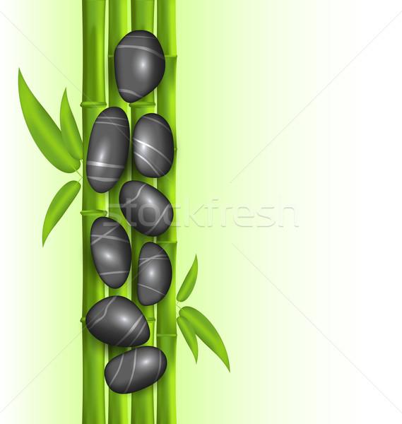 Spa terapia decoración bambú piedras plantilla Foto stock © smeagorl