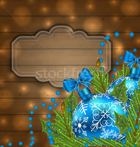 Houten label christmas illustratie Stockfoto © smeagorl