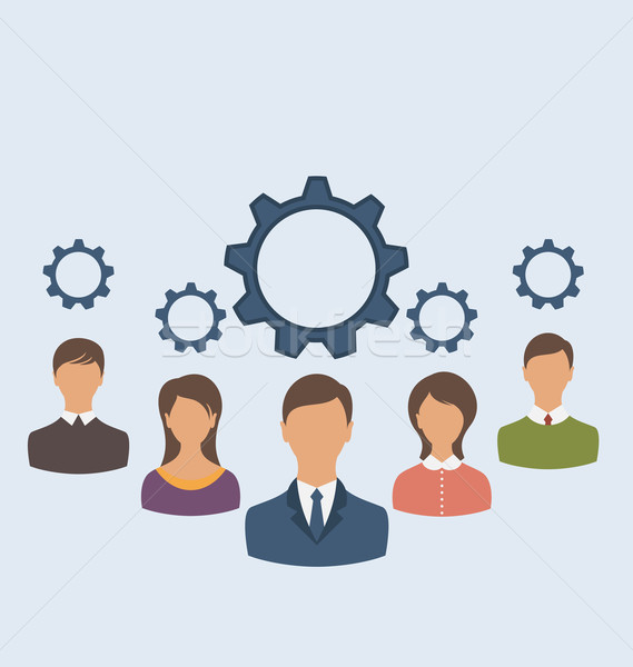Business people with cogwheels, business teamwork  Stock photo © smeagorl