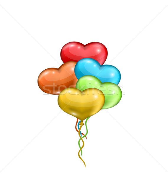 Bunch colorful balloons in the shape of hearts isolated on white Stock photo © smeagorl