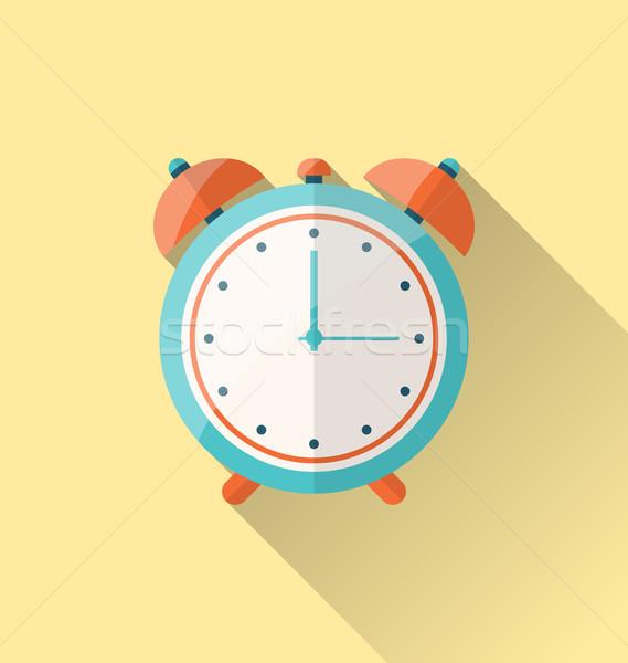 Flat icon of retro alarm-clock with long shadow Stock photo © smeagorl