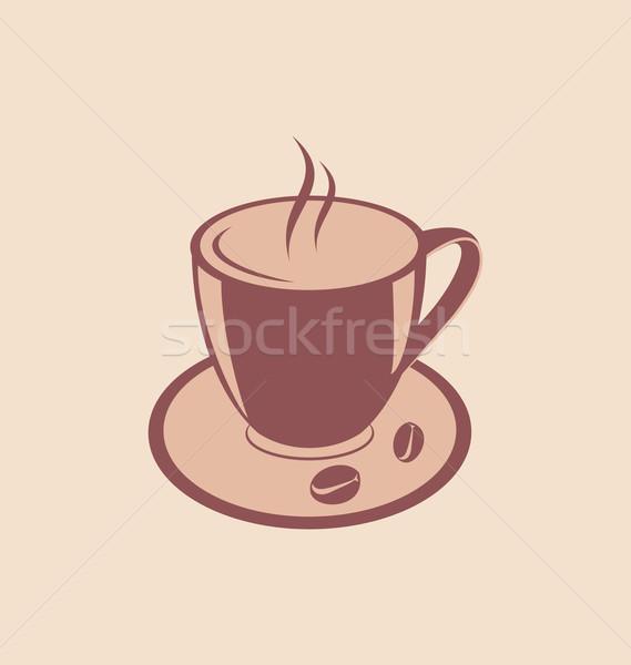 カップ 芳香族の コーヒー豆 ソーサー ヴィンテージ スタイル ストックフォト © smeagorl
