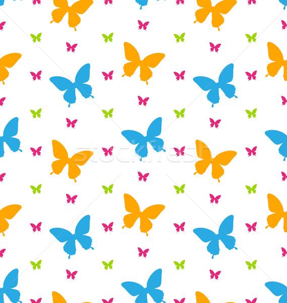 Kleurrijk vlinders herhalen achtergrond illustratie Stockfoto © smeagorl