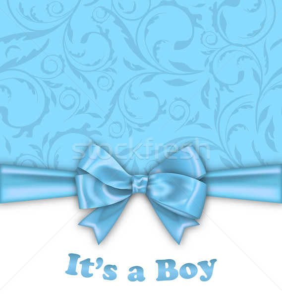 Boy Baby Shower Invitation Card with Blue Bow Ribbon Stock photo © smeagorl