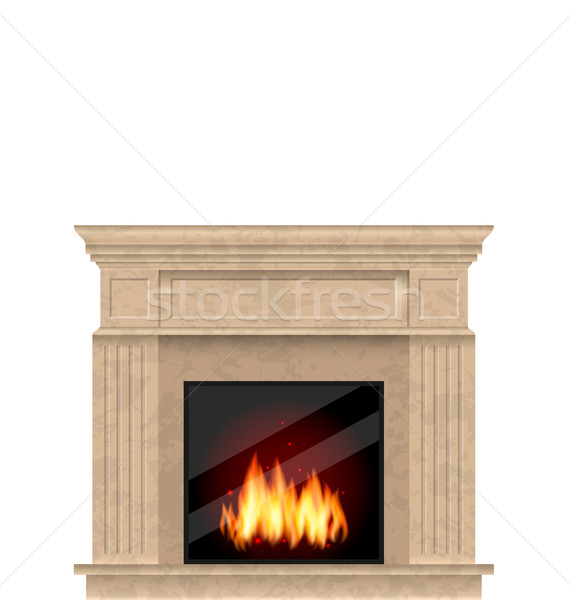 Realistic Marble Fireplace with Fire Isolated Stock photo © smeagorl