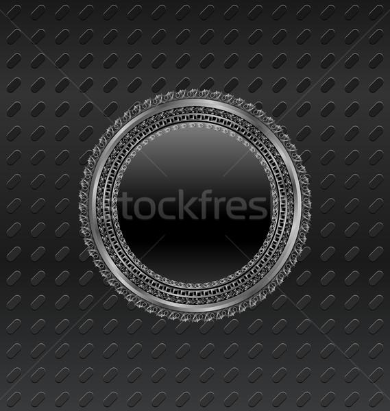 Illustration heraldic circle shield on titanium background Stock photo © smeagorl