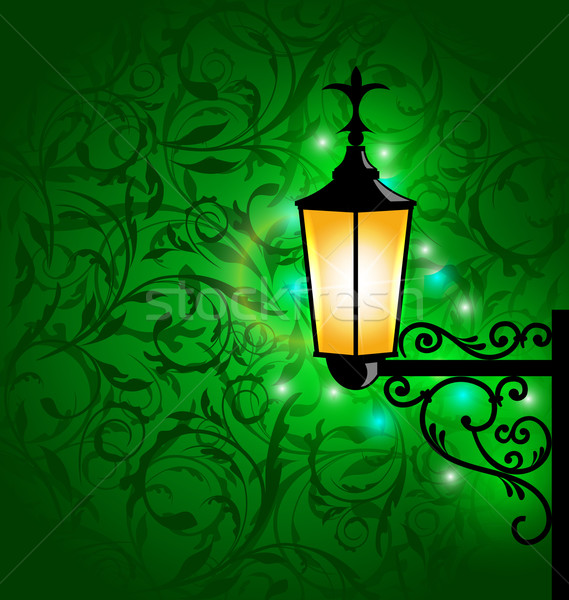 Arabic lamp with lights, card for Ramadan Kareem Stock photo © smeagorl
