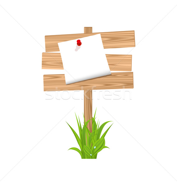 Wooden signpost with announcement, grass Stock photo © smeagorl