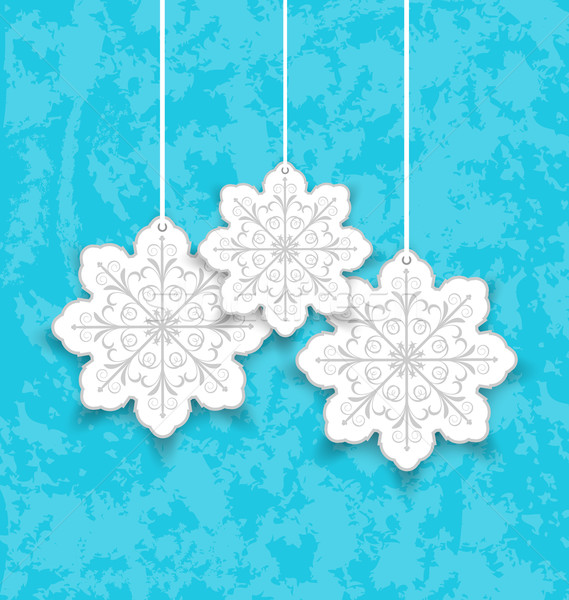 Set Christmas paper snowflakes on blue grunge background Stock photo © smeagorl