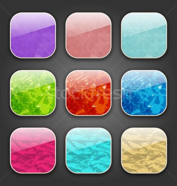 Achtergronden grunge textuur app iconen illustratie internet Stockfoto © smeagorl