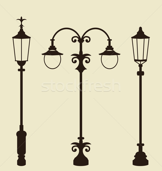 Set of vintage various forged lampposts Stock photo © smeagorl