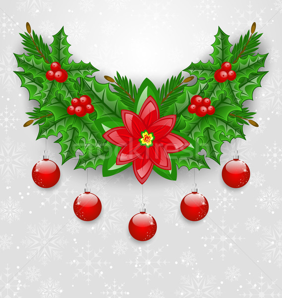 Christmas adornment with balls, holly berry, pine and poinsettia Stock photo © smeagorl