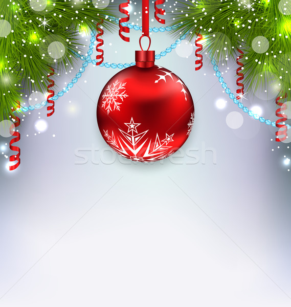 Christmas glowing background with glass ball, fir branches, stre Stock photo © smeagorl