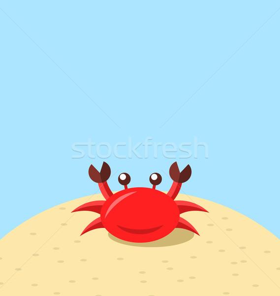 Cartoon краба пляж природного морской пейзаж Сток-фото © smeagorl
