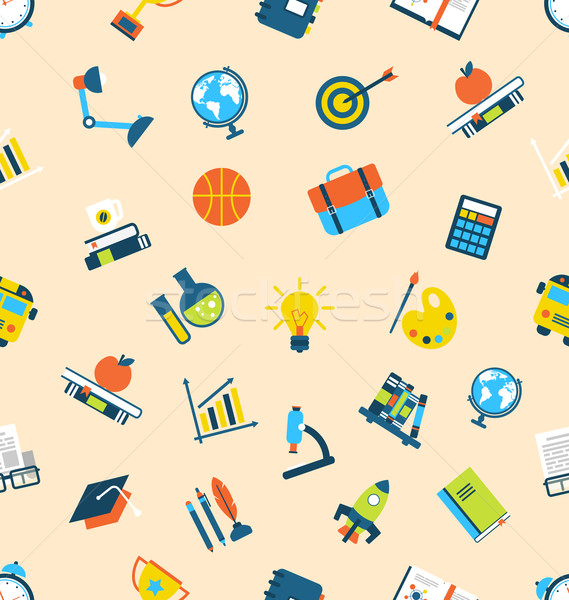 Illusztráció végtelenített textúra ikonok oktatás tétel Stock fotó © smeagorl