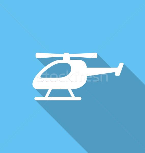 Ikon helikopter illusztráció egyszerű hosszú árnyék Stock fotó © smeagorl