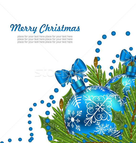 Greeting Postcard with Christmas Balls Stock photo © smeagorl