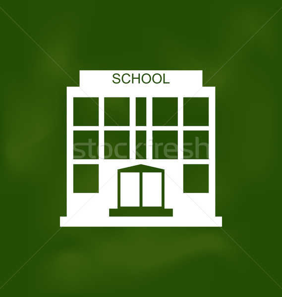 School Building Painted with Chalk on Blackboard Stock photo © smeagorl