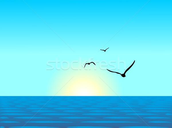 Realistic illustration of sea landscape Stock photo © smeagorl