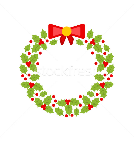 Christmas Wreath Made of Holly Berries Isolated Stock photo © smeagorl