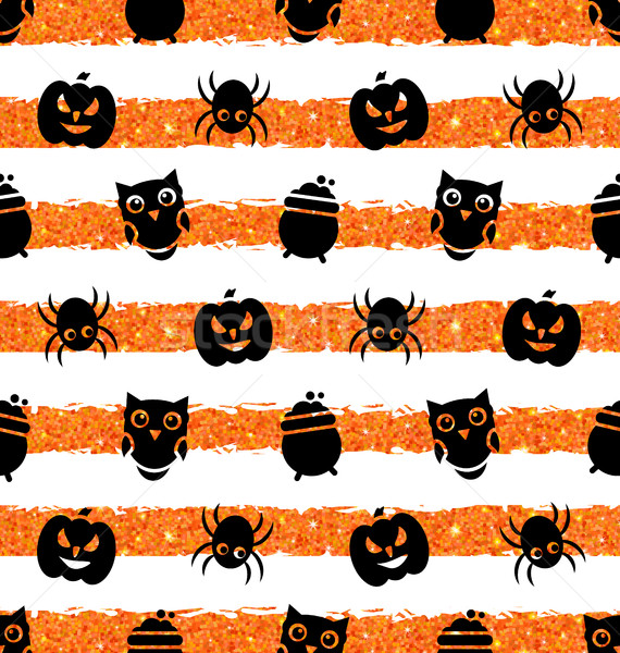 Seamless Background with Pumpkin, Spider, Pot, Owl Stock photo © smeagorl
