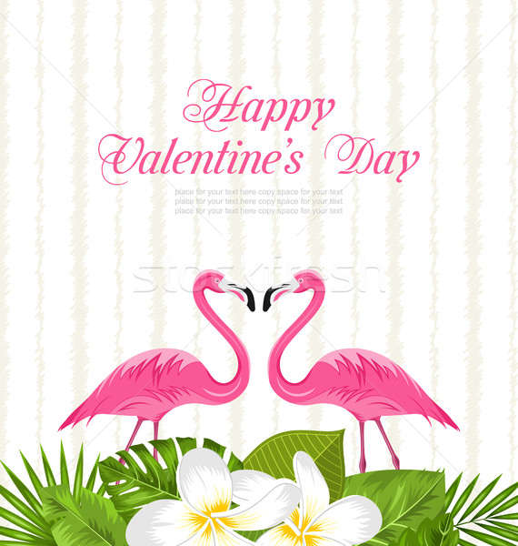 Cute Card with Pink Flamingos and Green Leaves for Valentines Day Stock photo © smeagorl