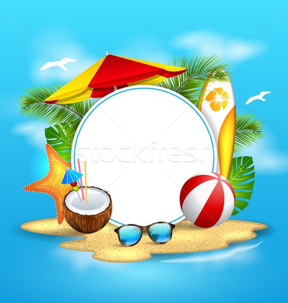 Nyár tenger sziget napernyő illusztráció kókusz Stock fotó © smeagorl