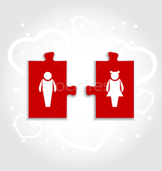 Couple of puzzle with human icons for Valentines day Stock photo © smeagorl