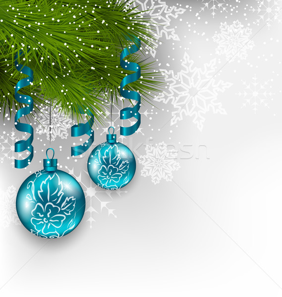 Christmas background with hanging glass balls and adornment Stock photo © smeagorl