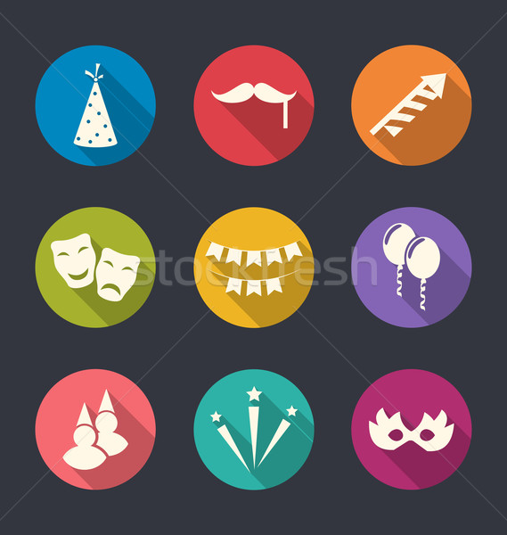 Set flat icons of party objects with long shadows Stock photo © smeagorl