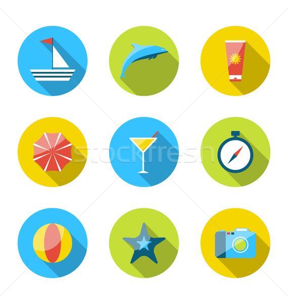 Stock fotó: Modern · szett · ikonok · utazó · tervez · nyári · vakáció