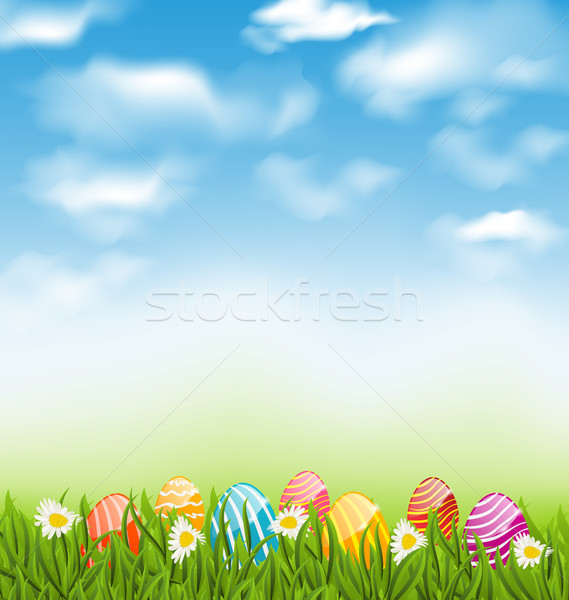 Easter natural landscape with traditional painted eggs in grass  Stock photo © smeagorl