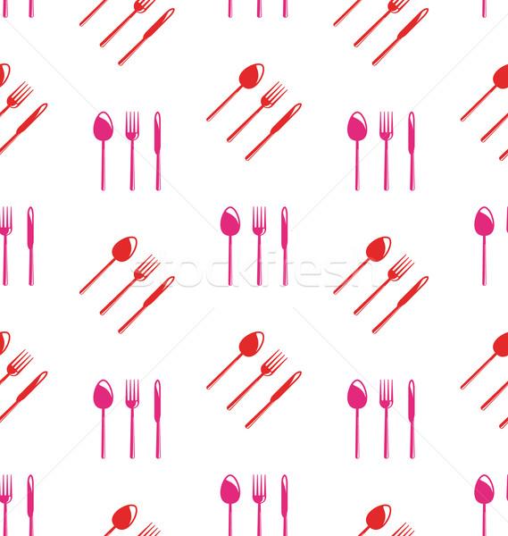 Sem costura textura colorido talheres ilustração papel de parede Foto stock © smeagorl