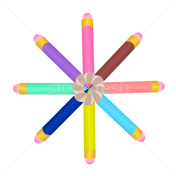 Illustration set colors pencils Stock photo © smeagorl