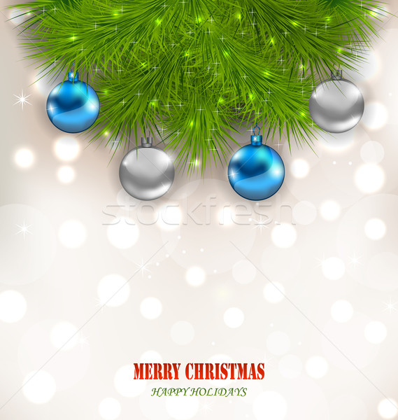 Christmas Composition with Fir Branches and Glass Balls Stock photo © smeagorl