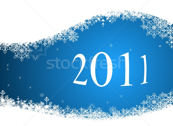 Hiver 2011 illustration résumé bleu modèle Photo stock © smeagorl