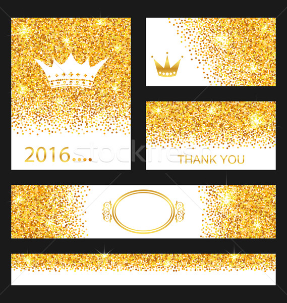 Collection of Gleam Cards. Decorative Golden Surfaces  Stock photo © smeagorl