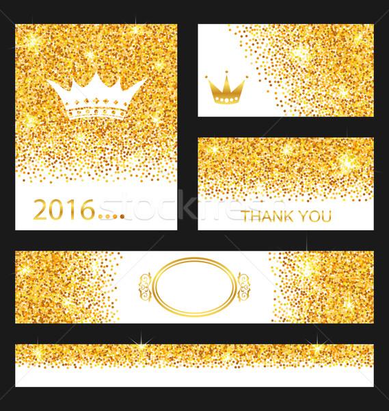 Foto stock: Coleção · cartões · decorativo · dourado · ilustração · fundo