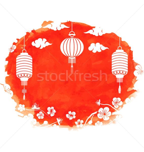 Aquarel frame bloesem sakura bloemen lantaarns Stockfoto © smeagorl