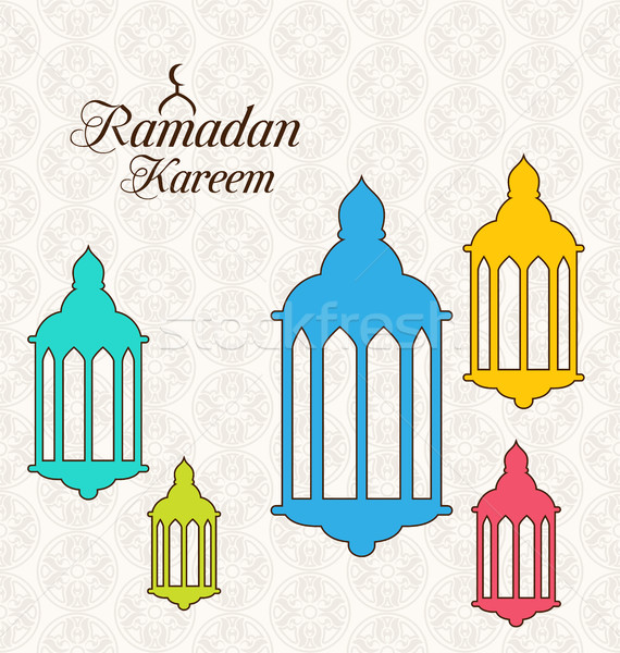 Arabic Card for Ramadan Kareem with Colorful Lamps (Fanoos) Stock photo © smeagorl