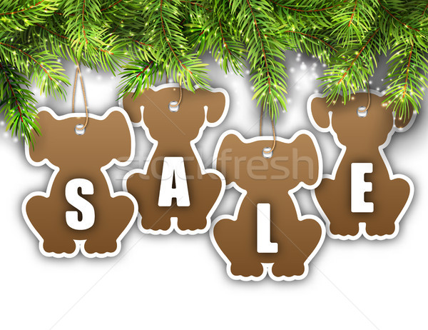 Wallpaper with Fir Branches and Stickers Dog, Sale Tags, Offers, Discounts Stock photo © smeagorl