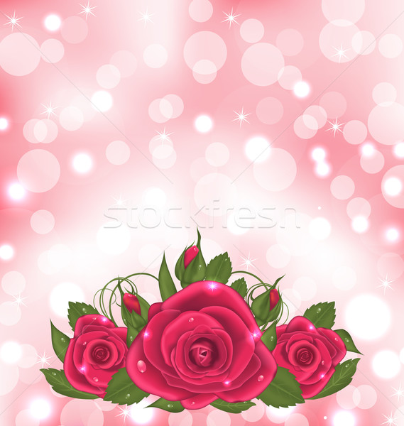Luxury background with bouquet of pink roses Stock photo © smeagorl