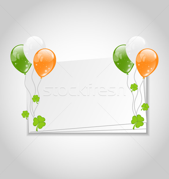Celebration card with balloons in Irish flag color for St. Patri Stock photo © smeagorl