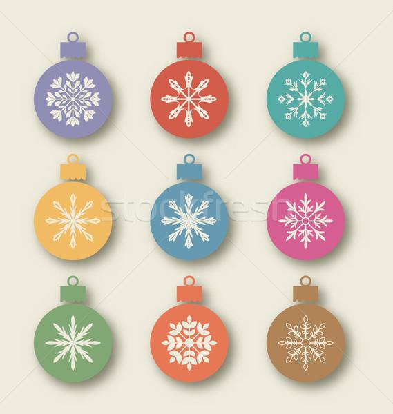 Conjunto vintage diferente simétrico flocos de neve Foto stock © smeagorl