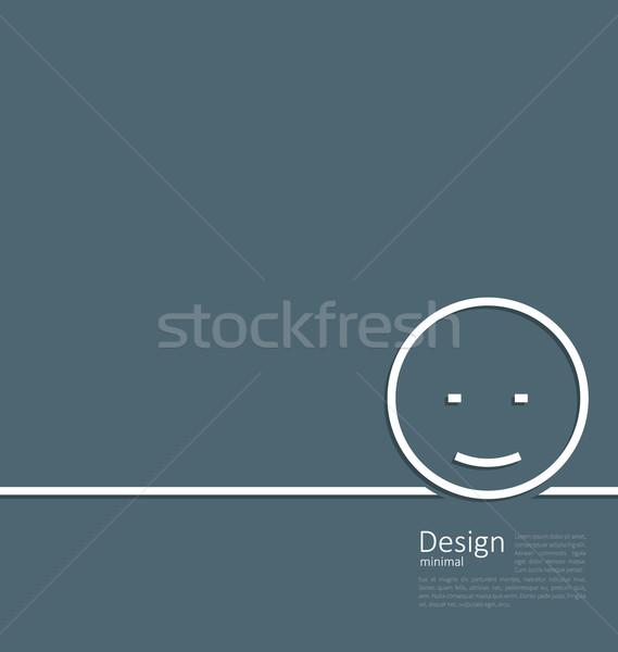 Logo komik gülümseme en az stil hat Stok fotoğraf © smeagorl