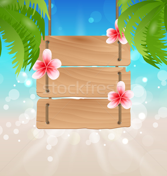Hanging wooden guidepost with exotic flowers frangipani and palm Stock photo © smeagorl